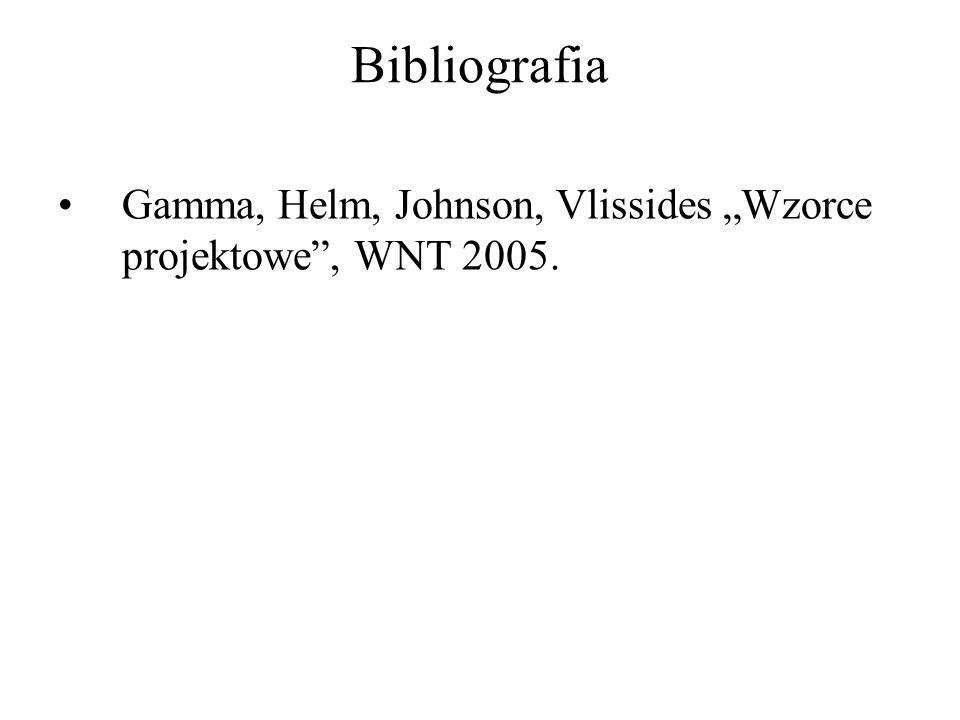 "Bibliografia Gamma, Helm, Johnson, Vlissides ""Wzorce projektowe , WNT 2005."
