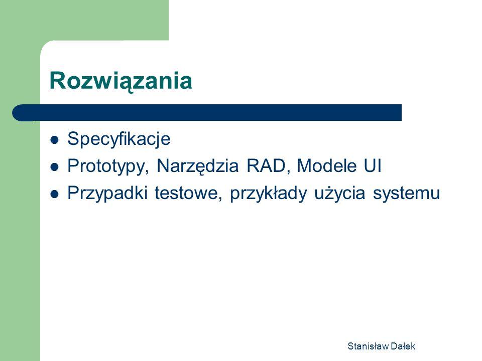 Rozwiązania Specyfikacje Prototypy, Narzędzia RAD, Modele UI
