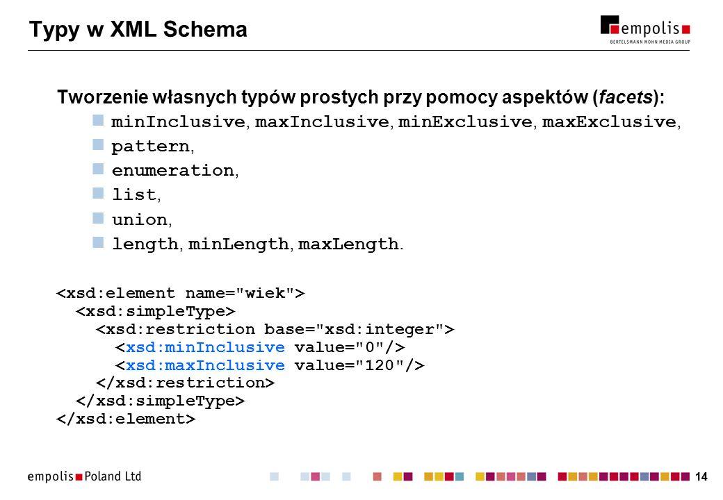 Typy w XML Schema Tworzenie własnych typów prostych przy pomocy aspektów (facets): minInclusive, maxInclusive, minExclusive, maxExclusive,