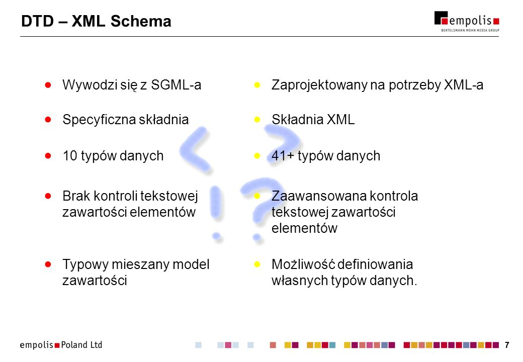 DTD – XML Schema Wywodzi się z SGML-a Zaprojektowany na potrzeby XML-a