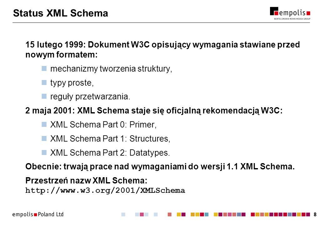 Status XML Schema 15 lutego 1999: Dokument W3C opisujący wymagania stawiane przed nowym formatem: mechanizmy tworzenia struktury,