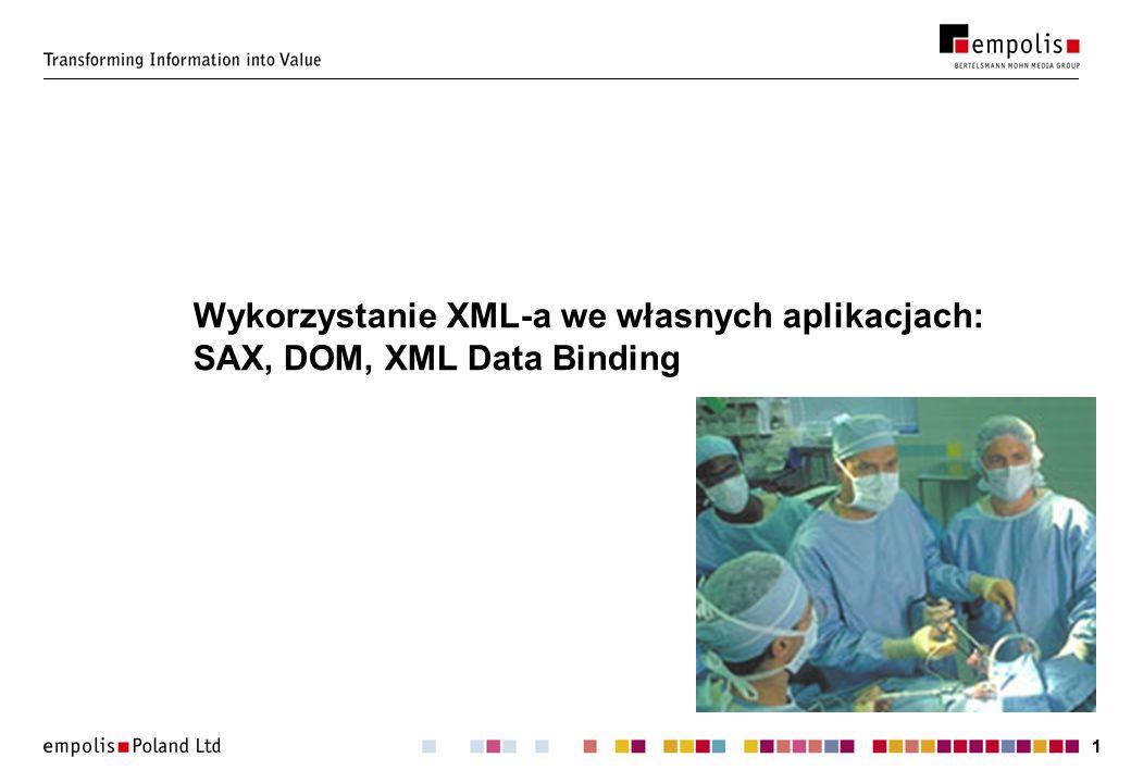 Wykorzystanie XML-a we własnych aplikacjach: SAX, DOM, XML Data Binding
