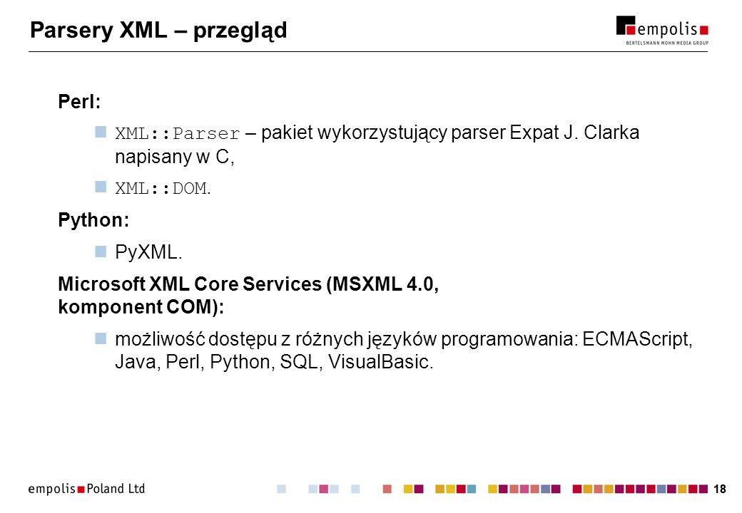 Parsery XML – przegląd Perl: