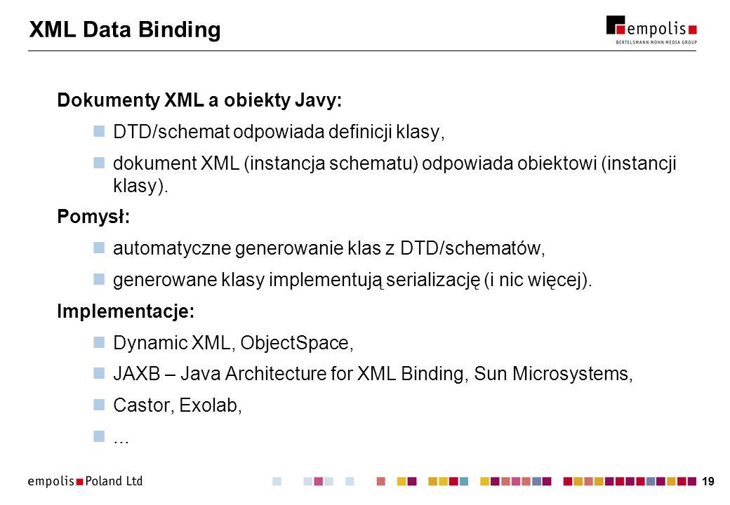 XML Data Binding Dokumenty XML a obiekty Javy: