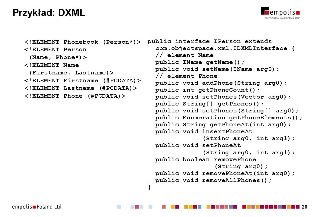 Przykład: DXML