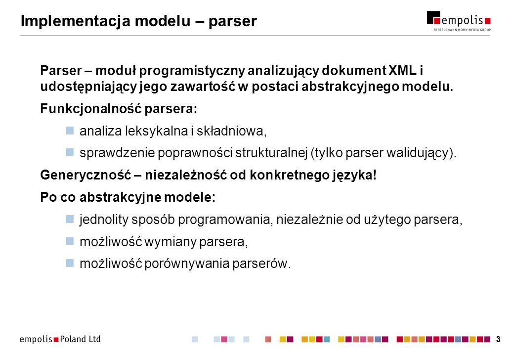 Implementacja modelu – parser