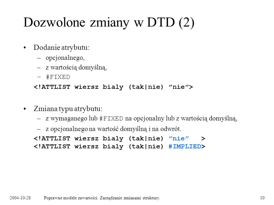 Dozwolone zmiany w DTD (2)