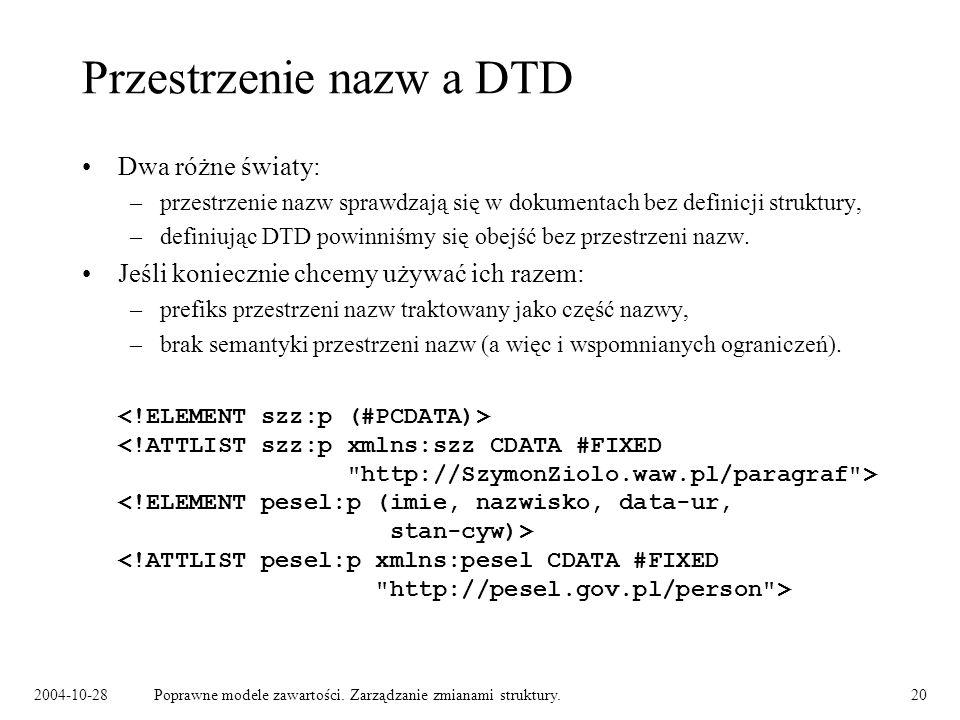 Przestrzenie nazw a DTD