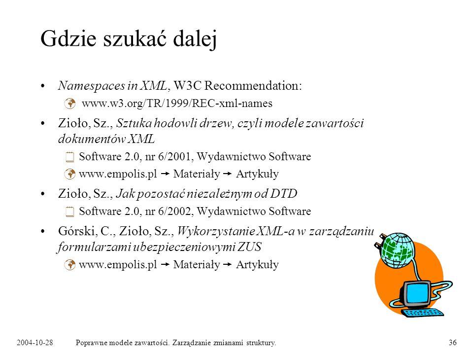 Gdzie szukać dalej Namespaces in XML, W3C Recommendation: