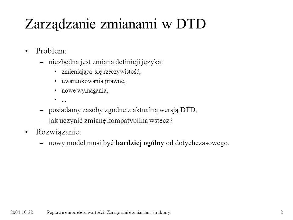 Zarządzanie zmianami w DTD