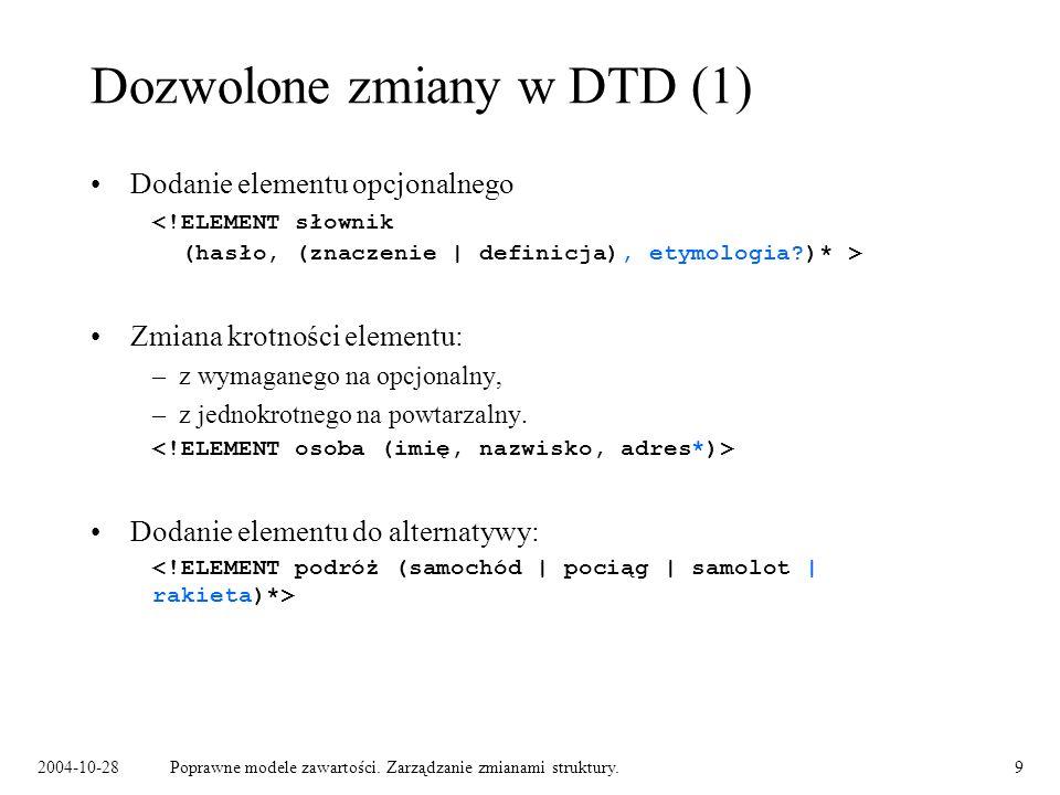 Dozwolone zmiany w DTD (1)