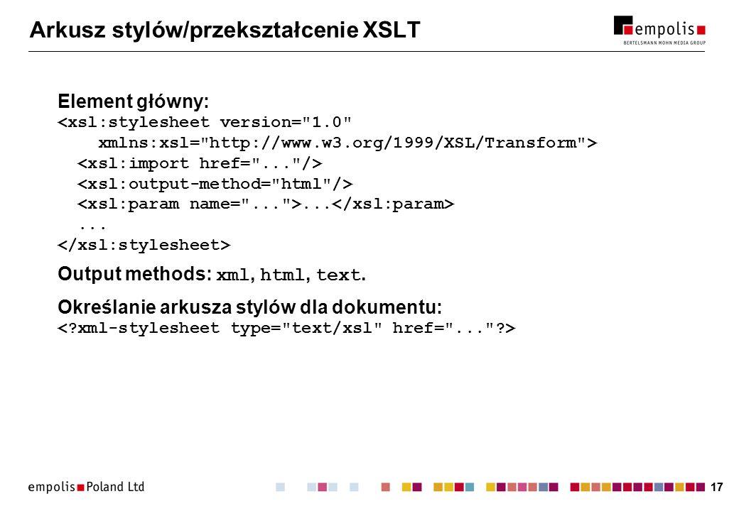 Arkusz stylów/przekształcenie XSLT