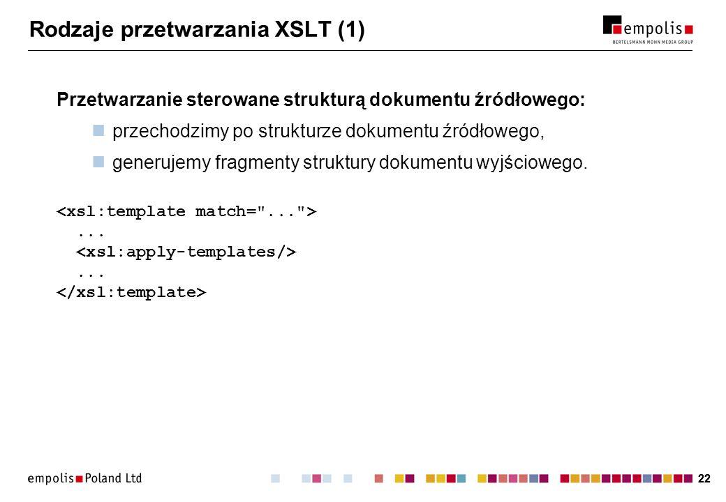 Rodzaje przetwarzania XSLT (1)