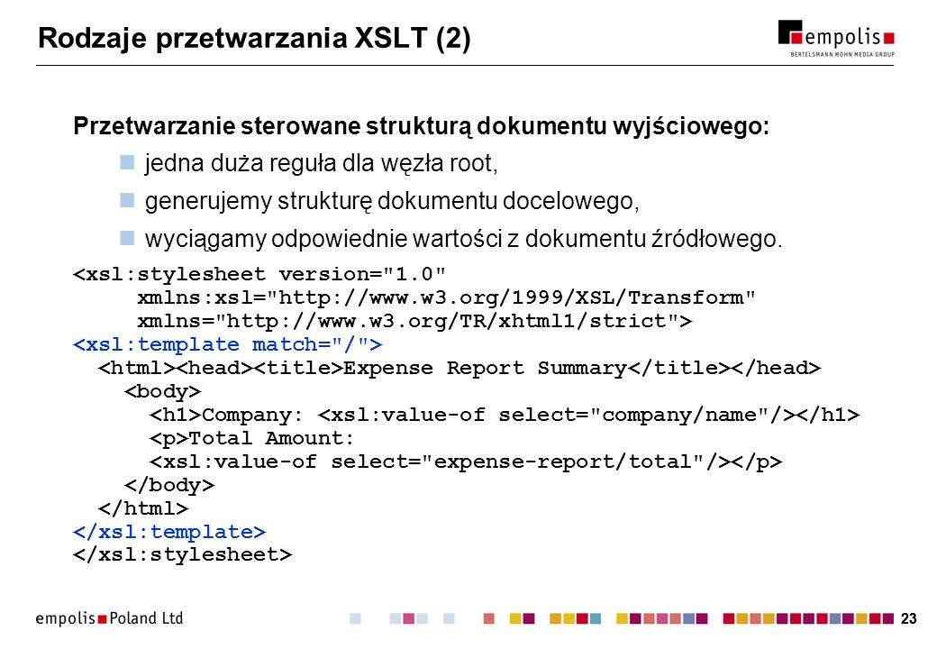 Rodzaje przetwarzania XSLT (2)