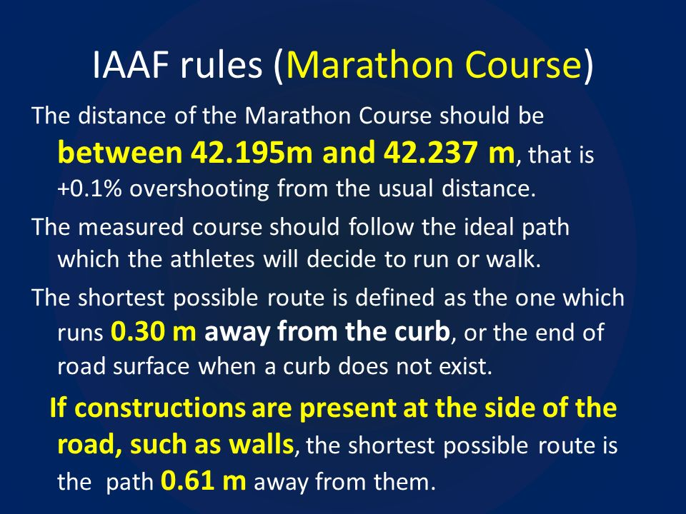 IAAF rules (Marathon Course)