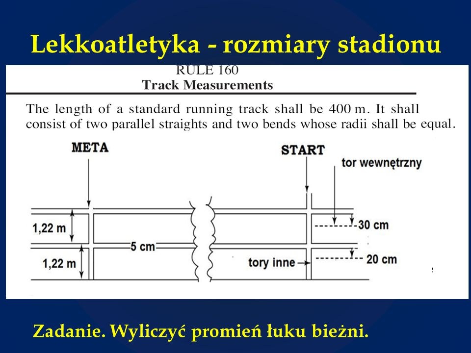 Lekkoatletyka - rozmiary stadionu