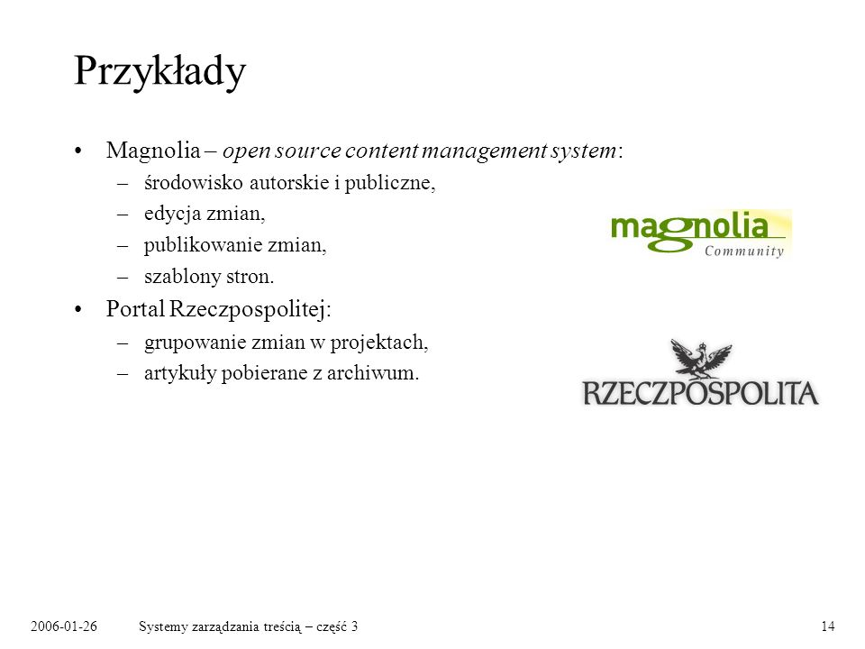 Przykłady Magnolia – open source content management system: