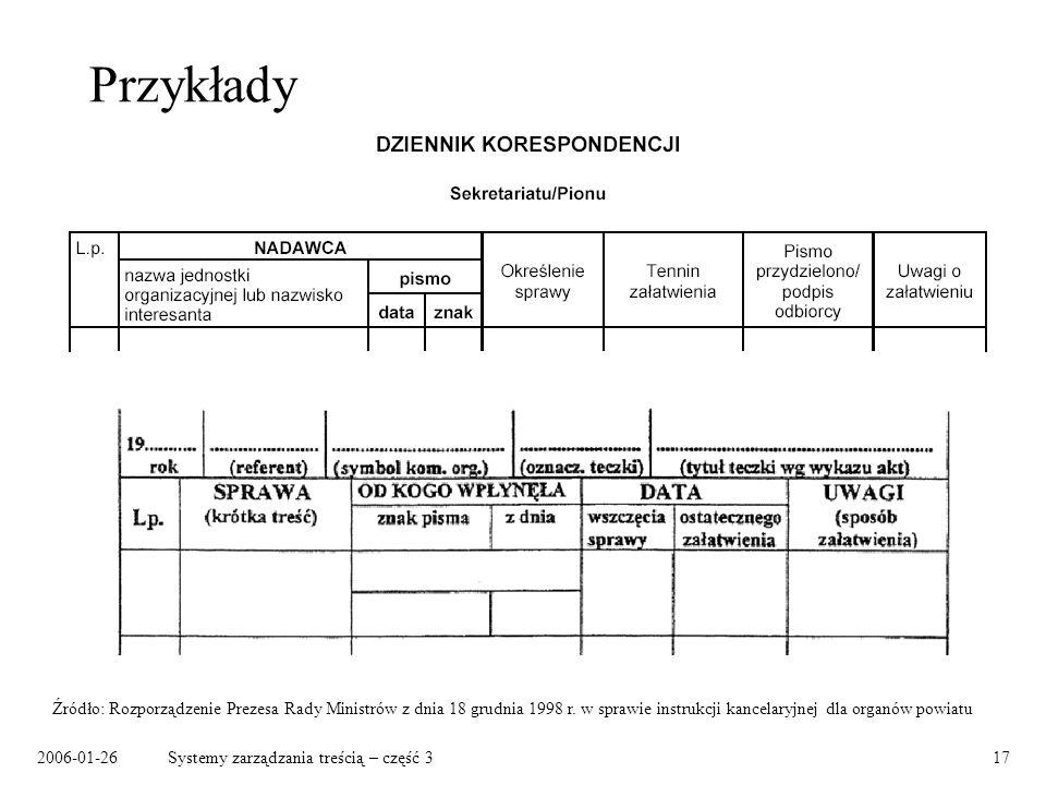 Przykłady Źródło: Rozporządzenie Prezesa Rady Ministrów z dnia 18 grudnia 1998 r. w sprawie instrukcji kancelaryjnej dla organów powiatu.