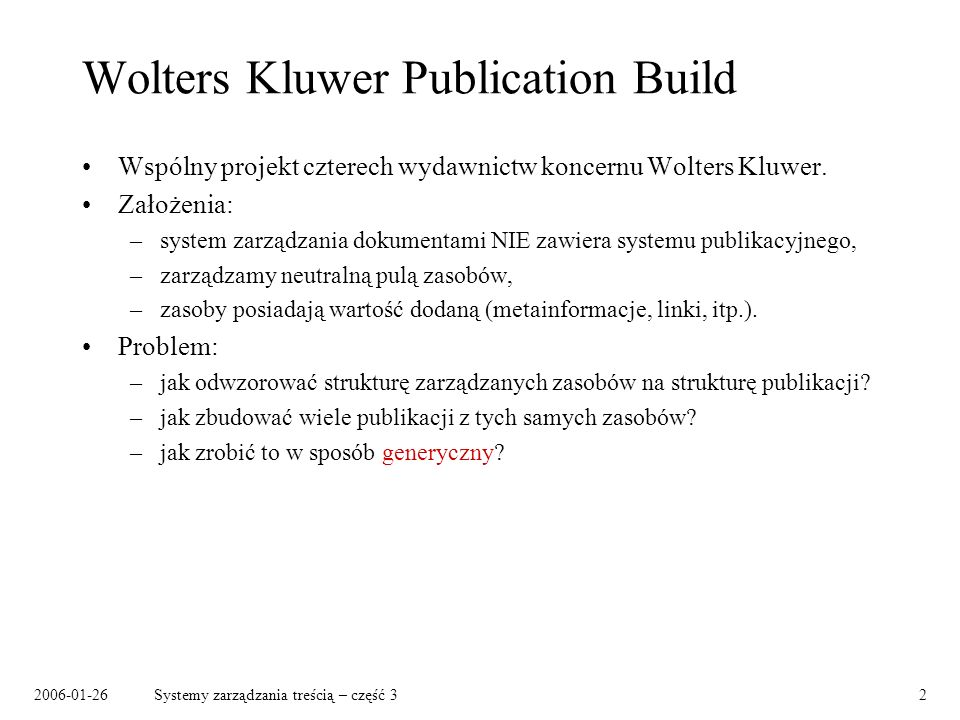 Wolters Kluwer Publication Build