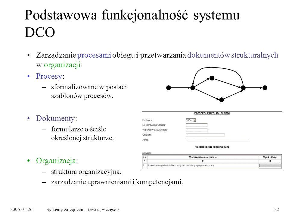 Podstawowa funkcjonalność systemu DCO
