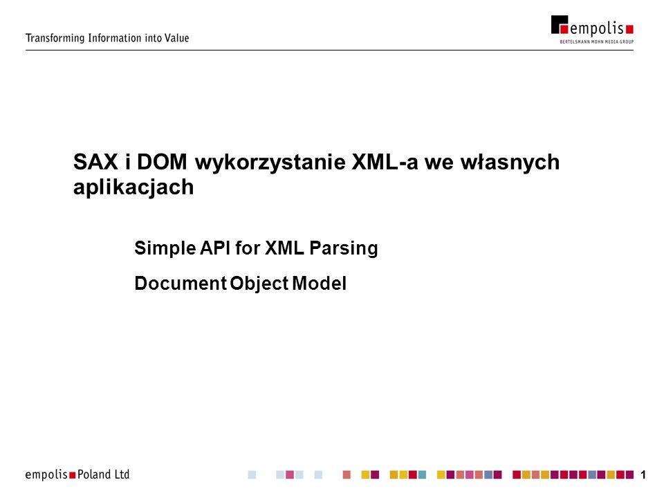 SAX i DOM wykorzystanie XML-a we własnych aplikacjach