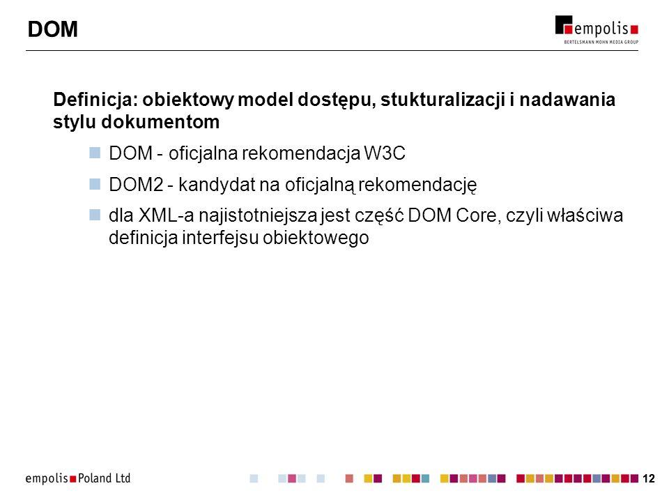 DOM Definicja: obiektowy model dostępu, stukturalizacji i nadawania stylu dokumentom. DOM - oficjalna rekomendacja W3C.