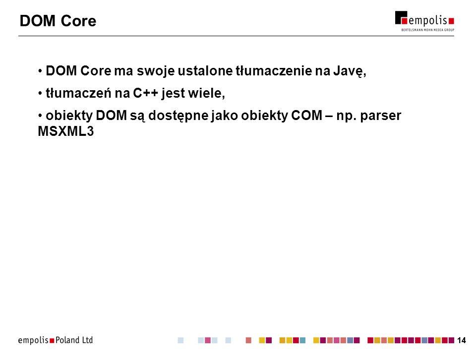 DOM Core DOM Core ma swoje ustalone tłumaczenie na Javę,