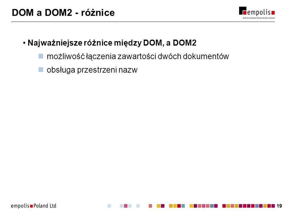 DOM a DOM2 - różnice Najważniejsze różnice między DOM, a DOM2