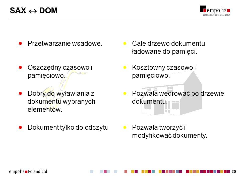 SAX  DOM Przetwarzanie wsadowe.