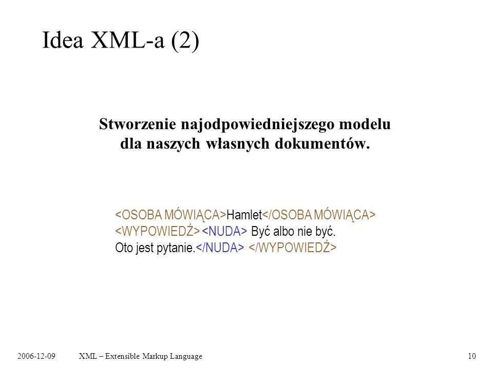 Idea XML-a (2) Stworzenie najodpowiedniejszego modelu dla naszych własnych dokumentów. <NUDA> </NUDA>