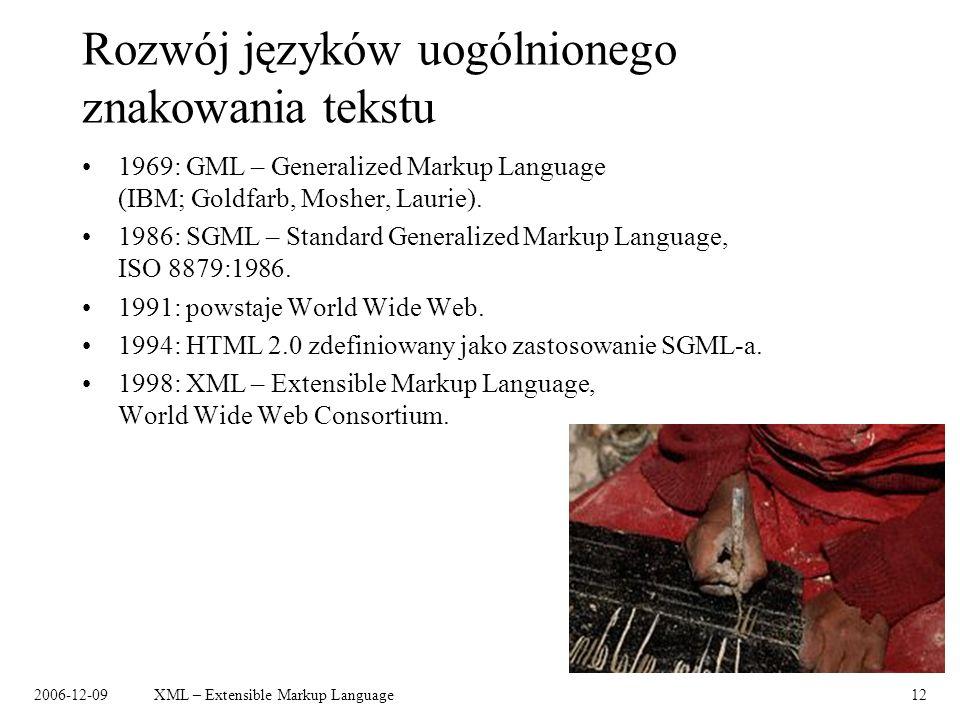 Rozwój języków uogólnionego znakowania tekstu