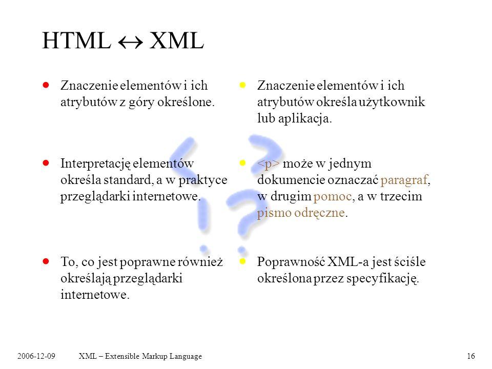 HTML  XML Znaczenie elementów i ich atrybutów z góry określone.