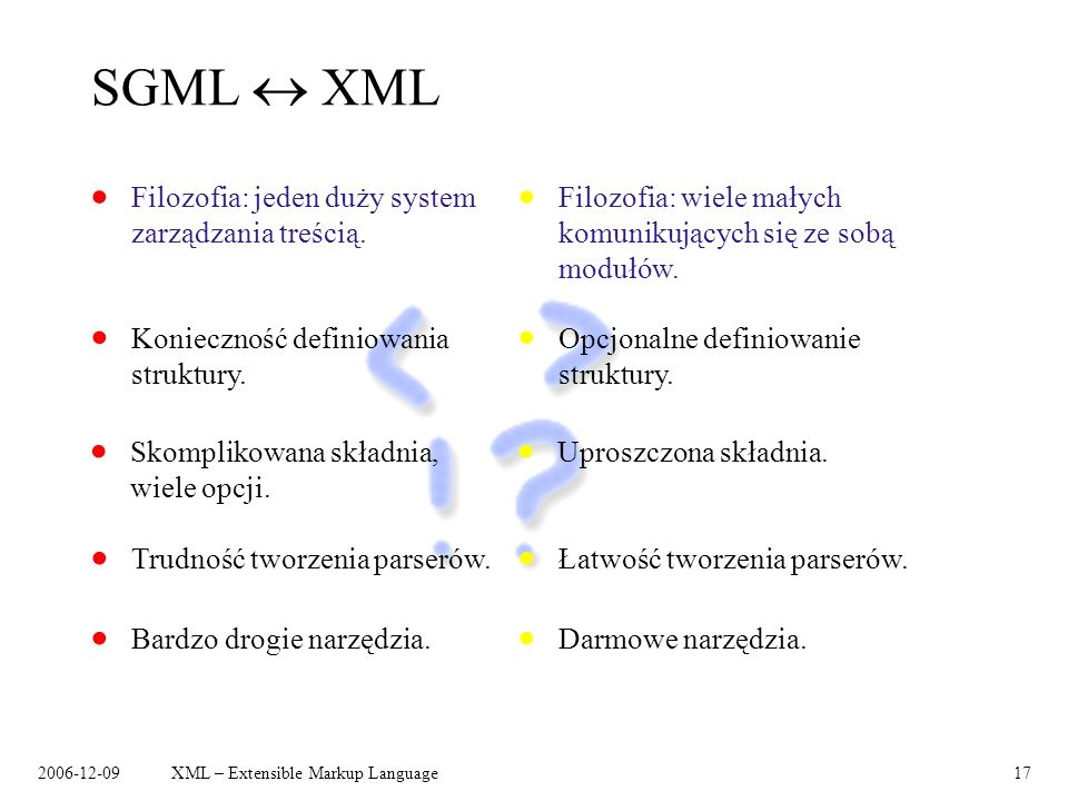 SGML  XML Filozofia: jeden duży system zarządzania treścią.