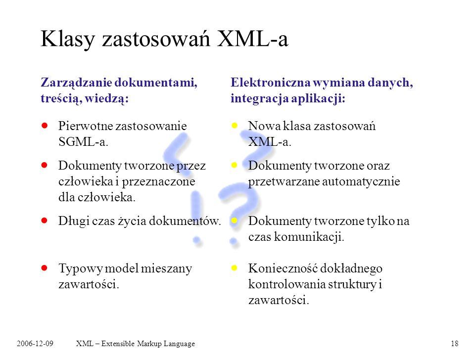 Klasy zastosowań XML-a