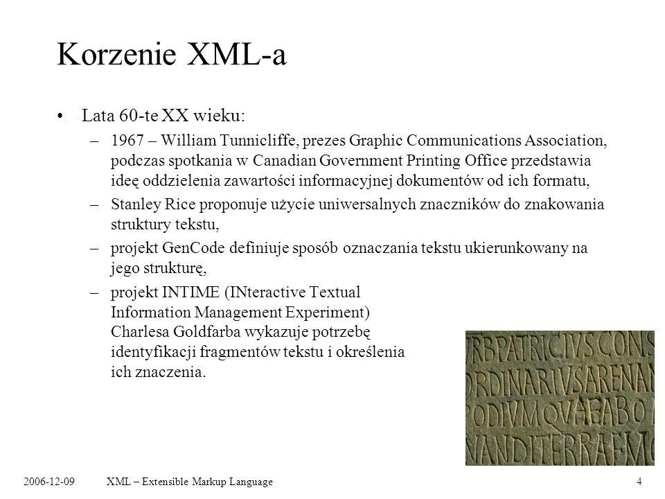 Korzenie XML-a Lata 60-te XX wieku: