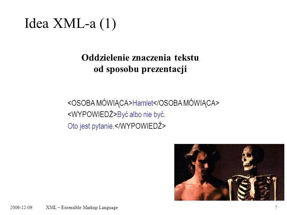 Oddzielenie znaczenia tekstu od sposobu prezentacji