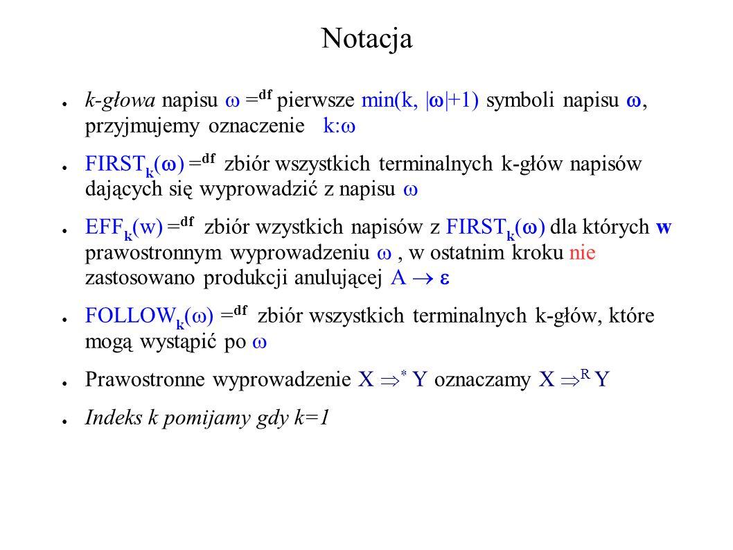Notacja k-głowa napisu  =df pierwsze min(k, ||+1) symboli napisu , przyjmujemy oznaczenie k:
