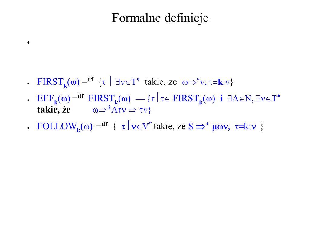 Formalne definicje FIRSTk() =df { takie, ze k}