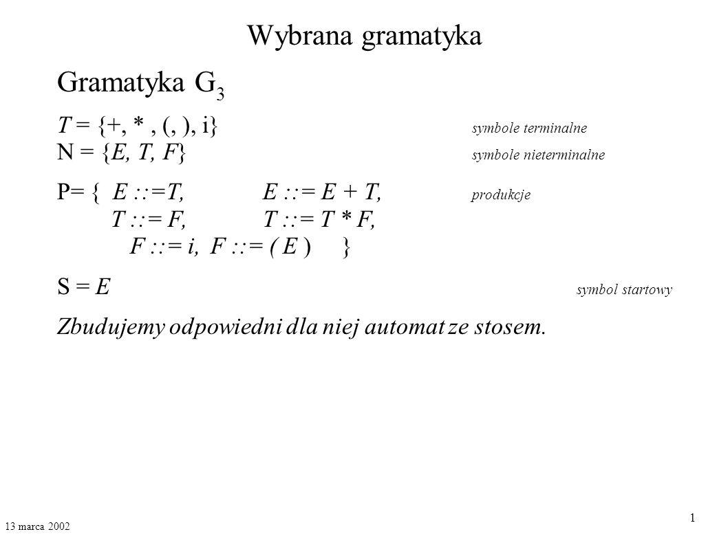 Wybrana gramatyka Gramatyka G3