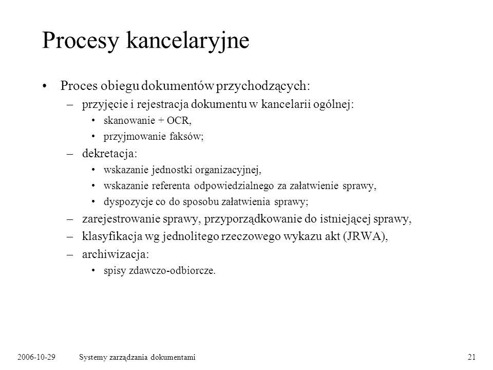 Procesy kancelaryjne Proces obiegu dokumentów przychodzących: