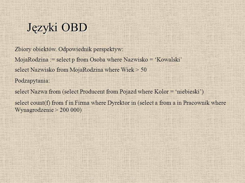 Języki OBD Zbiory obiektów. Odpowiednik perspektyw: