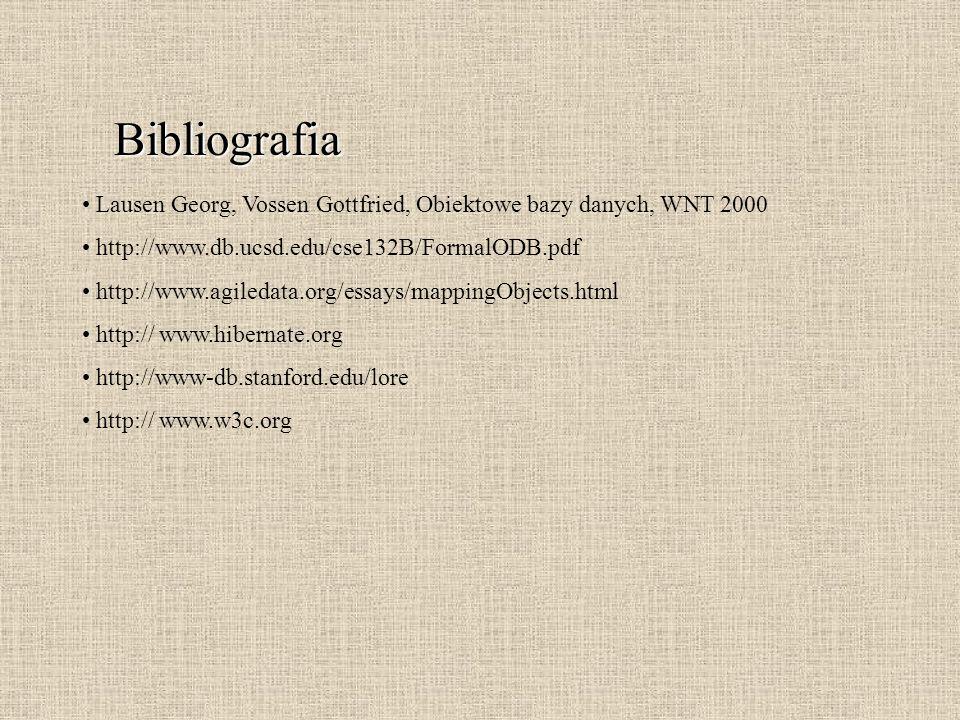 Bibliografia Lausen Georg, Vossen Gottfried, Obiektowe bazy danych, WNT 2000. http://www.db.ucsd.edu/cse132B/FormalODB.pdf.