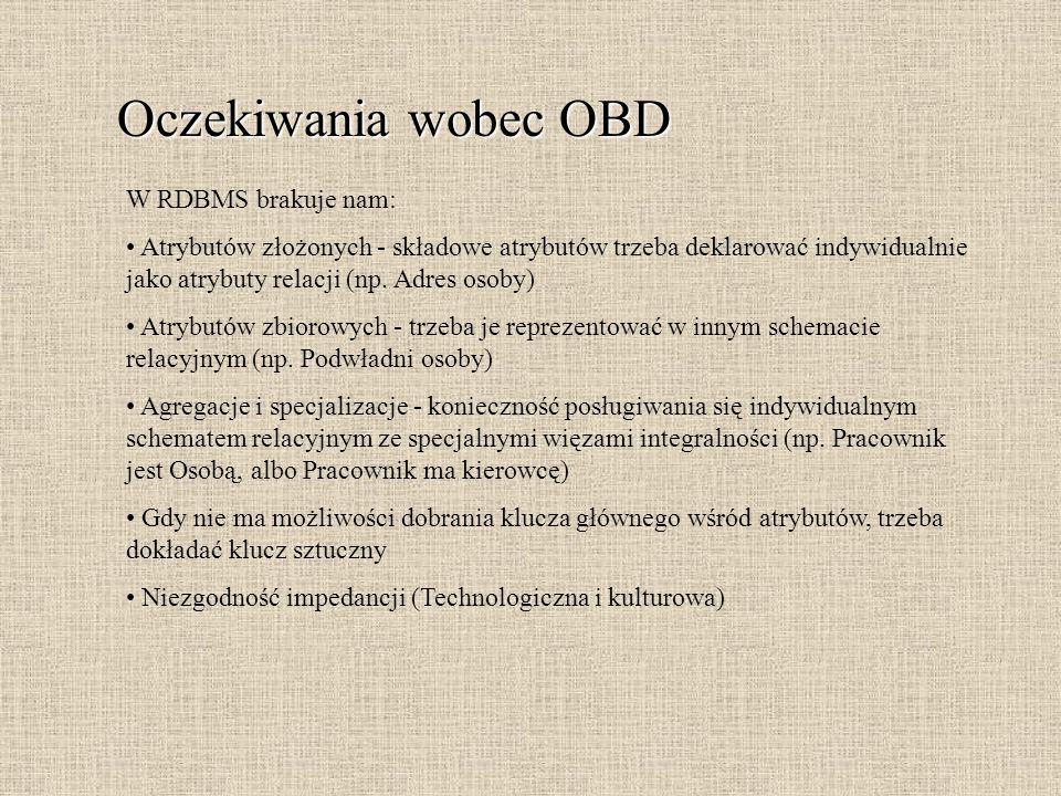 Oczekiwania wobec OBD W RDBMS brakuje nam: