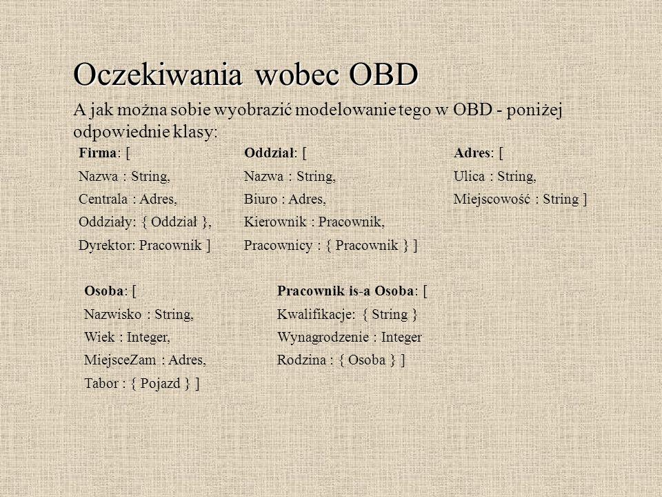Oczekiwania wobec OBD A jak można sobie wyobrazić modelowanie tego w OBD - poniżej. odpowiednie klasy: