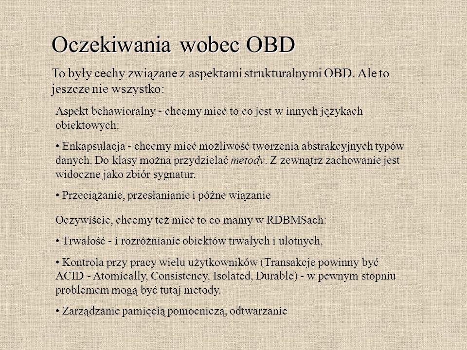 Oczekiwania wobec OBD To były cechy związane z aspektami strukturalnymi OBD. Ale to jeszcze nie wszystko: