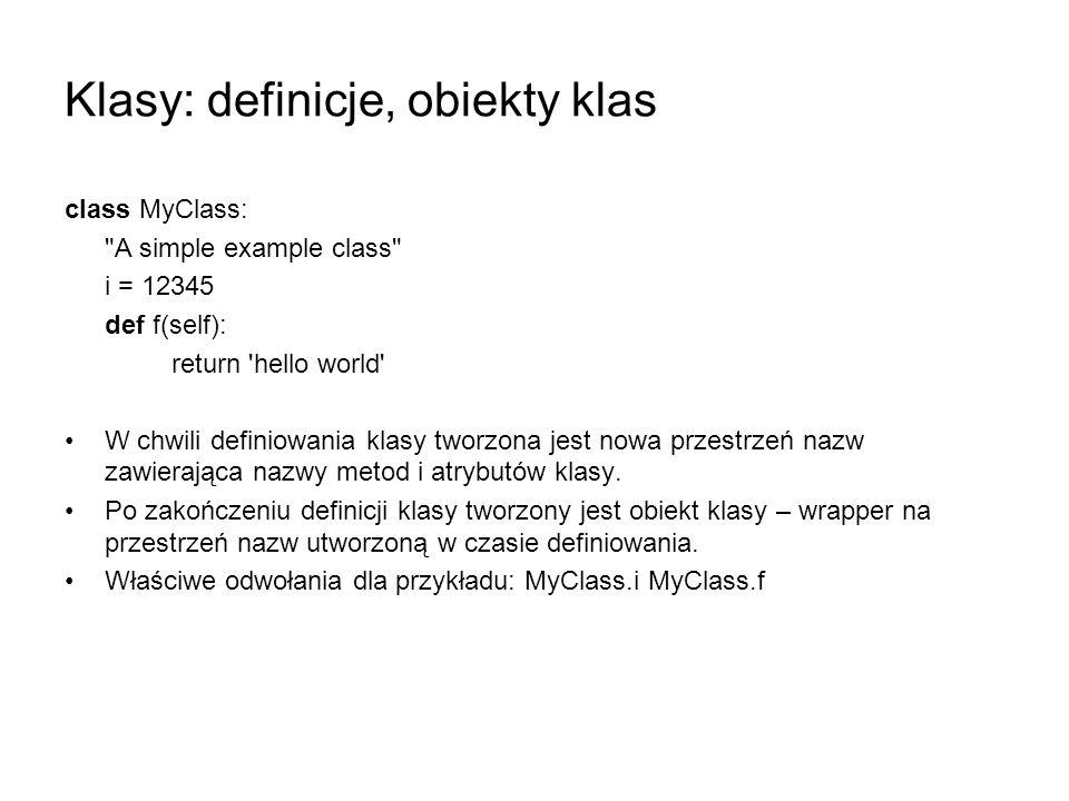 Klasy: definicje, obiekty klas