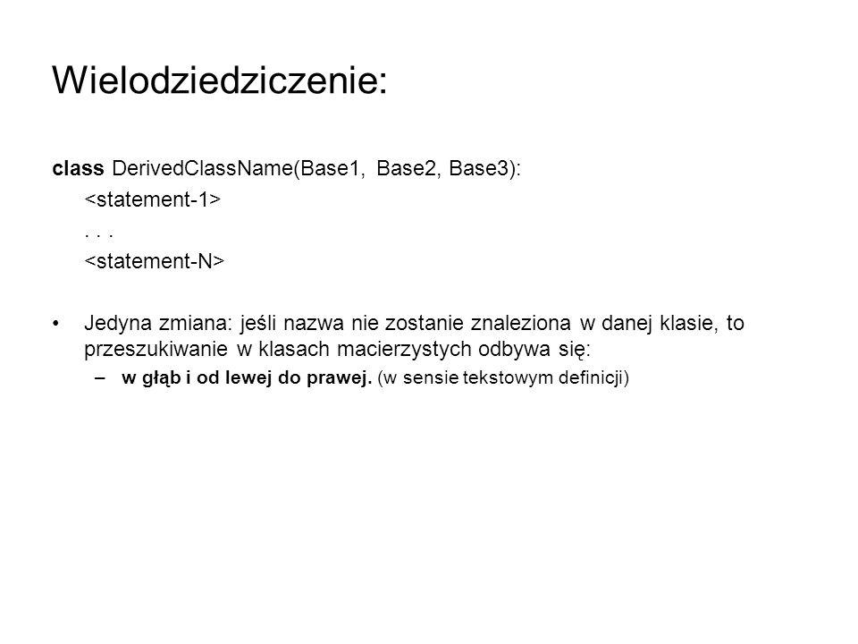 Wielodziedziczenie: class DerivedClassName(Base1, Base2, Base3):