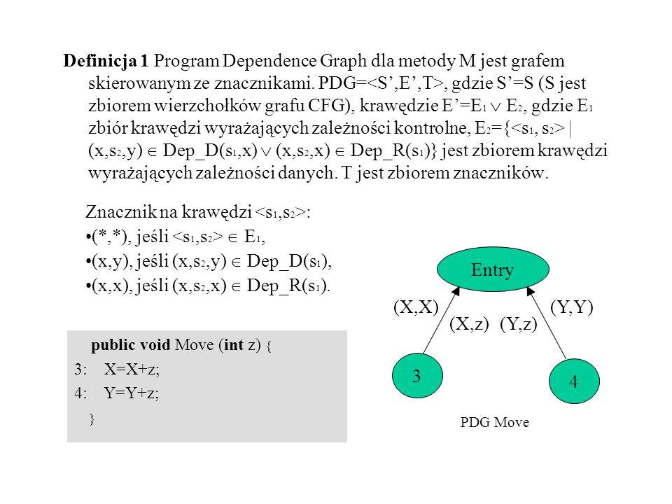 Znacznik na krawędzi <s1,s2>: (*,*), jeśli <s1,s2>  E1,