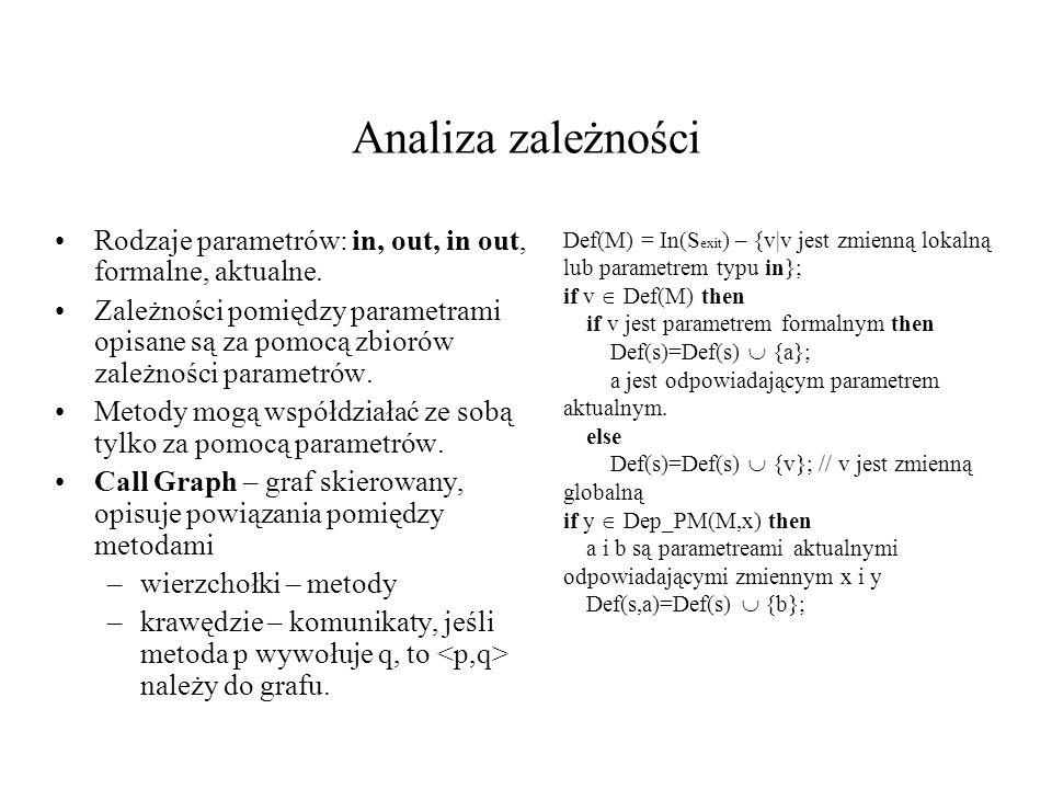 Analiza zależności Rodzaje parametrów: in, out, in out, formalne, aktualne.