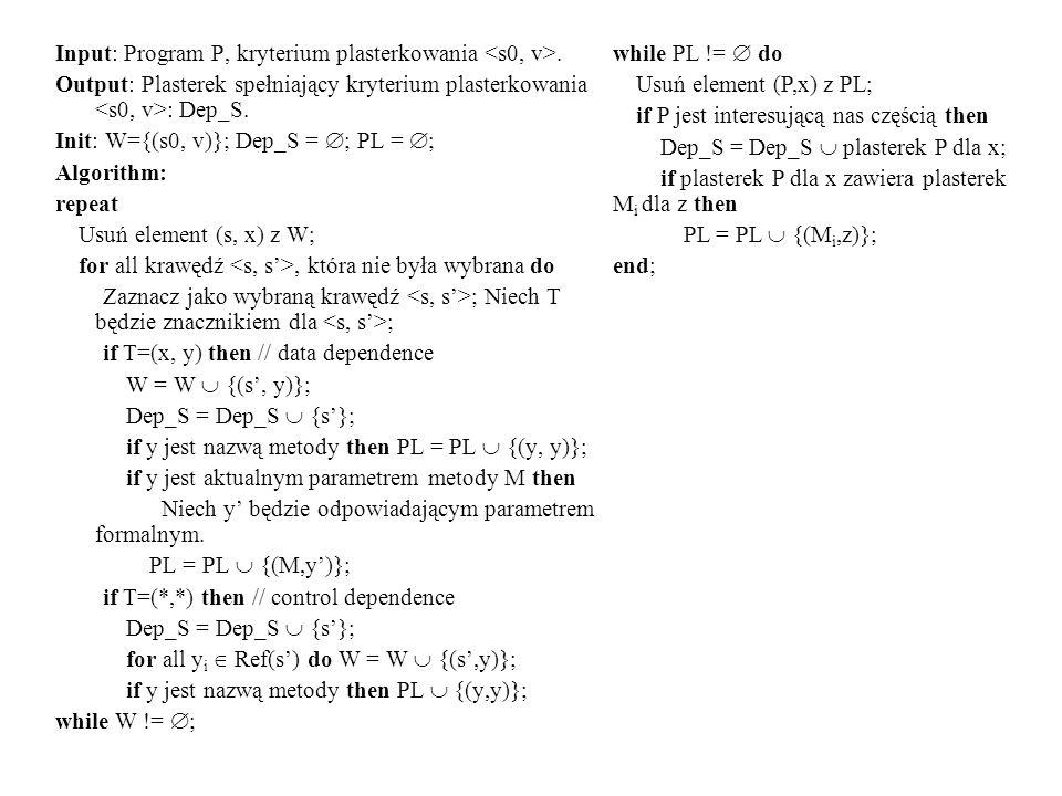 Input: Program P, kryterium plasterkowania <s0, v>.